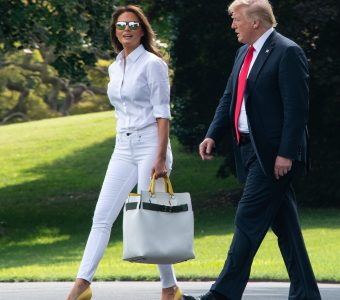 US President Donald Trump and First Lady Melania Trump walk to board Marine One at the White House in Washington, DC, on July 27, 2018 as they head to spend the weekend in New Jersey. (Photo by NICHOLAS KAMM / AFP) (Photo credit should read NICHOLAS KAMM/AFP/Getty Images)